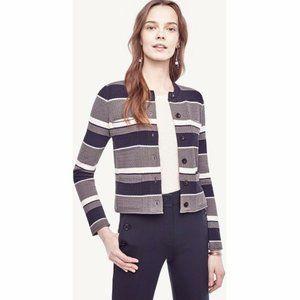 Ann Taylor Striped Long Sleeve Sweater Jacket